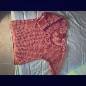 Coral pink open knit v neck loose sweater